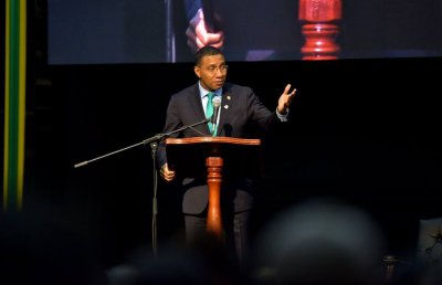 Chairman of the CARICOM and Prime Minister of Jamaica, the Most Hon. Andrew Holness, addressing the 39th Regular Meeting of CARICOM Heads of Government (Photo via JIS